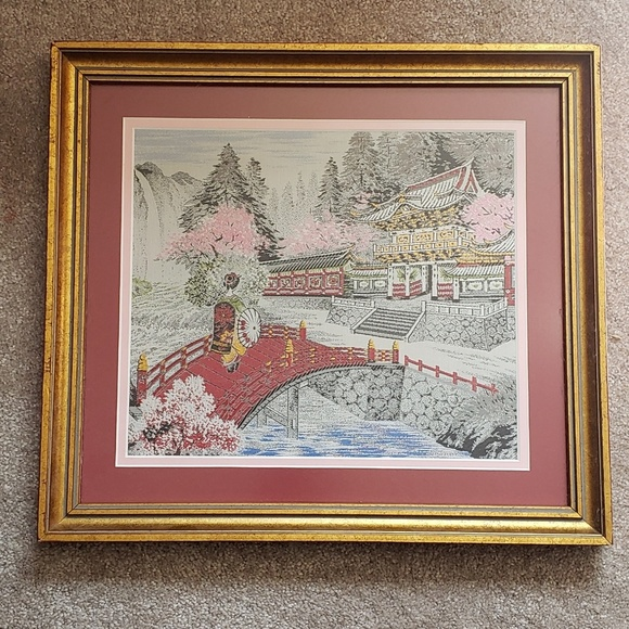Vintage Other - Vintage Chinese Silk Embroidered Tapestry c.1969